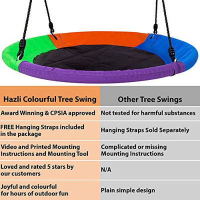 "40"" Saucer Tree Swing for Kids Outdoor with Straps"