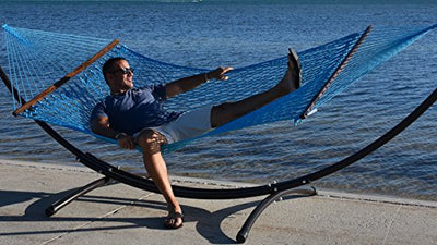 Caribbean Rope Hammock - 55 Inch - Soft-Spun Polyester (light blue)