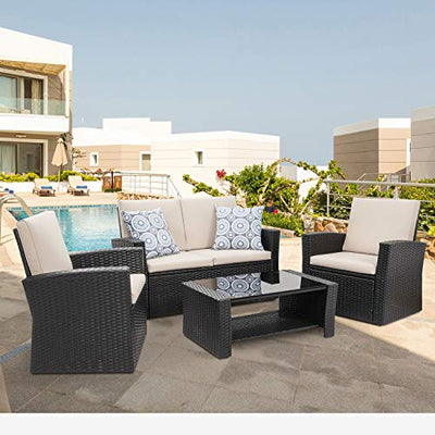 Shintenchi 4 Piece Outdoor Patio Furniture Sets, Wicker Rattan Sectional Sofa Couch with Glass Coffee Table for Backyard, Porch, Garden and Poolside Outdoor Patio Conversation Sets, Black