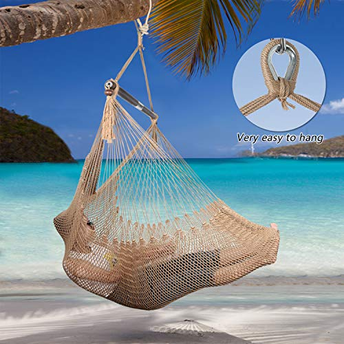 Large Caribbean Hammock Hanging Chair with-Soft Spun Cotton Rope Hanging Chair