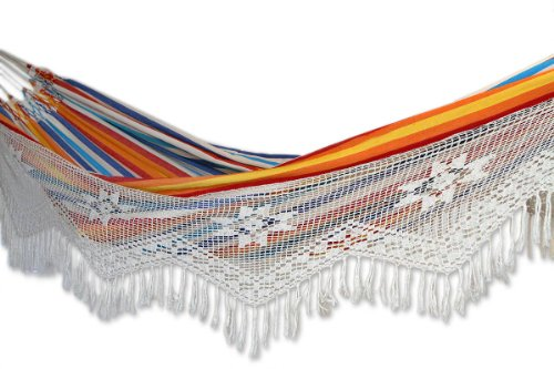 Hand Woven Brazilian Hammock with Crochet Fringe