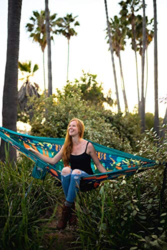 ENO, DoubleNest Print Lightweight Camping Hammock, 1 to 2 Person, Lagoon