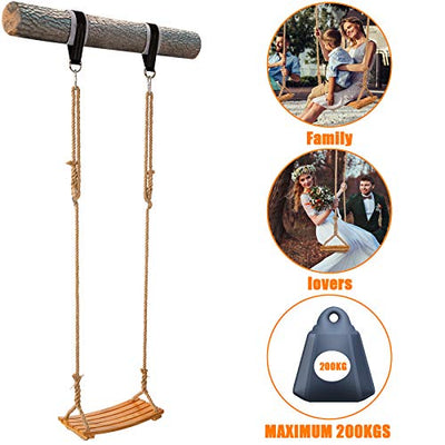 "Yangbaga Wooden Swing Hanging Tree Swings, Wood Swings Seat 19.7""9.8""0.78""to Adult Kids Children with Adjustable Hemp Rope Plus Tree Straps inch and 2 Carabiner Hooks-for Park or Home for Kids"