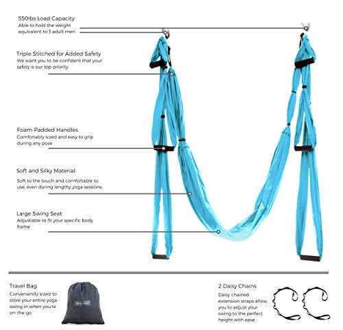 Aerial Yoga Swing - Ultra Strong Antigravity Yoga Hammock/Sling for Air Yoga Inversion Exercises - 2 Extensions Straps Included (Blue)