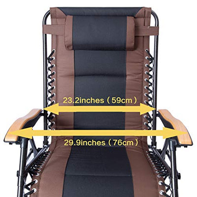 Deluxe Oversized Padded Zero Gravity Chair XL with Black Brown Cup Holder