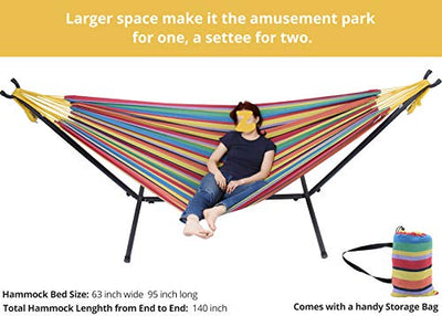 Zupapa Double Hammock with Stand and Carry Bag: Yellow Blue Red Stripe