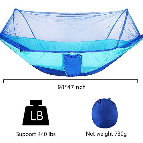 U/N Heavy-Duty Camping Hammock with Wide Lay Flat and Mesh Net
