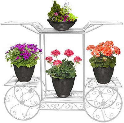 Sorbus Garden Cart Stand & Flower Pot Plant Holder Display Rack, 6 Tiers, Parisian Style - Perfect for Home, Garden, Patio (White)