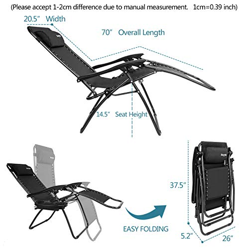 Bonnlo Infinity Zero Gravity Chair Pack 2, Outdoor Lounge Patio Chairs with Pillow and Utility Tray Adjustable Folding Recliner for Deck,Patio,Beach,Yard (Black)
