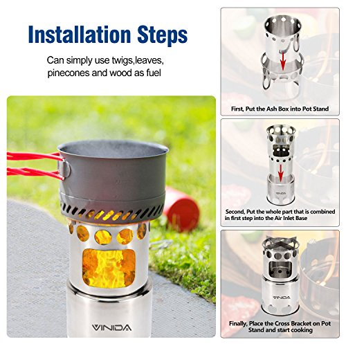 VINIDA Wood Burning Camping Stove - Updated Collapsible Lightweight Survival Backpacking Stove for Camping Hiking Climbing and Fishing