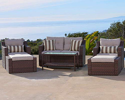 Set 7-Piece Wicker Conversation Furniture Lounge Chairs with Ottoman