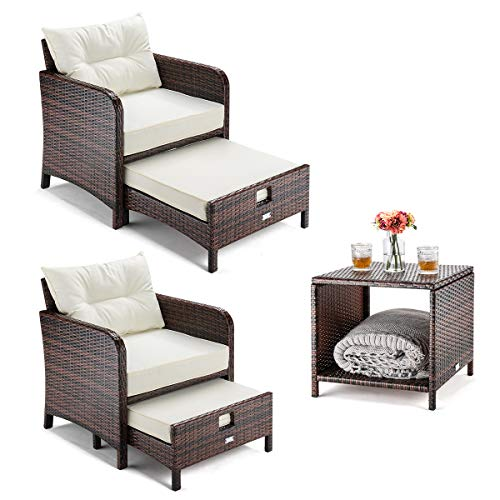 5 Pieces Wicker Patio Furniture Set Outdoor Patio Chairs With Ottomans Hammock Town