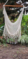 Handmade Hammock Chair with Macrame Edge Cotton- Beige