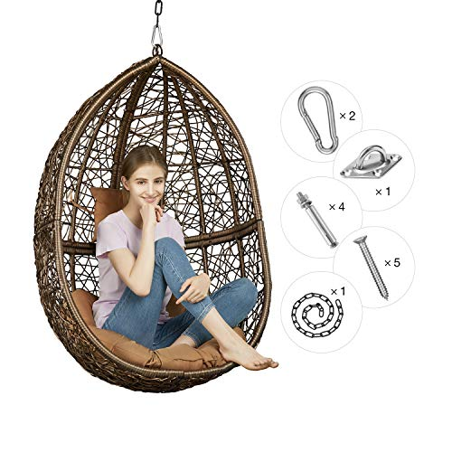 Rattan Wicker Hanging Chair : Brown