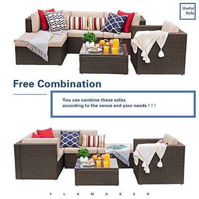 Flamaker 6 Pieces Patio Furniture Set Outdoor Sectional Sofa Outdoor Furniture Set Patio Sofa Set Conversation Set with Cushion and Table (Beige)