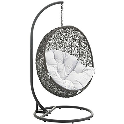 Modway Hide Outdoor Patio Swing Chair with Stand: Gray White