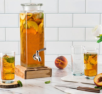 KooK Tall Square Glass Yorkshire Mason Jar Drink Dispenser with Stainless Steel Spigot and Glass Lid, 80 Once