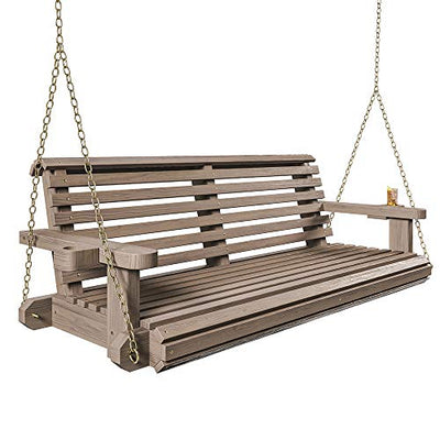 Porchgate Amish Heavy Duty 800 Lb Roll Comfort Treated Porch Swing W/Chains (4 Foot, Warm Walnut Stain)