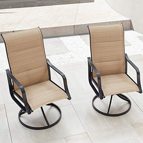 High Back Outdoor Swivel Rocker Chair Set with All Weather Frame