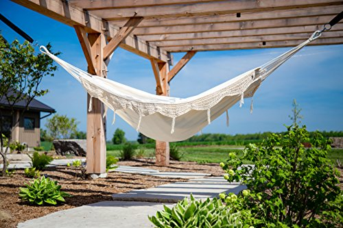 Vivere Double Brazilian Fringe Hammock: Natural