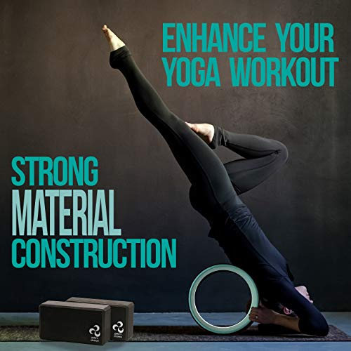 Yoga Set for Beginners Yoga Wheel Kit + 2 Yoga Blocks, Bonus eBook & Free Yoga Strap