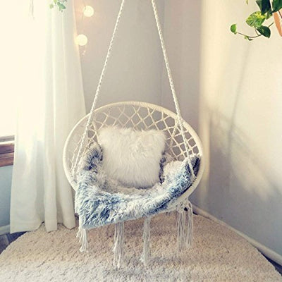 E EVERKING Macrame Swing Hammock Chair-White