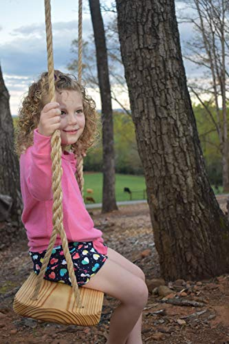 Wood Tree Swing - Great Outdoor or Indoor Premier Wooden Tree Swing for Adults or Children - Complete Kit - Easy Quick and Ready to Hang
