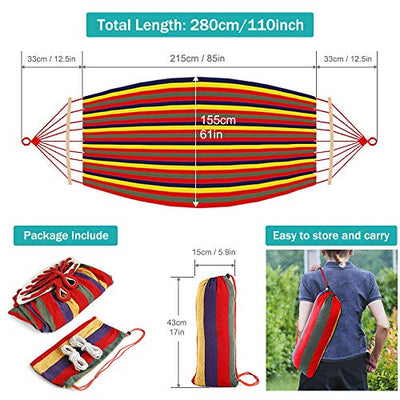 MOSFiATA 550lb Single Camping Hammock, Upgraded and Thickened 320G Durable Canvas Fabric with Two Anti Roll Balance Beam and Sturdy Metal Knot Tree Straps for Backpacking, Travel, Beach, Backyard etc.