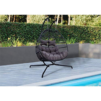 LeisureMod Modern Wicker Folding Double Hanging Egg Swing Chair in Charcoal