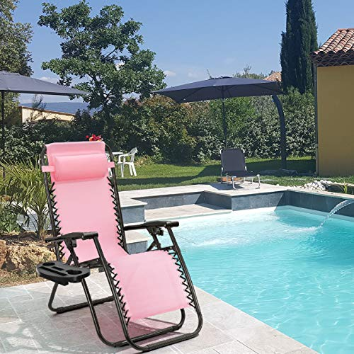 Zero Gravity Chairs Adjustable with Pillow Recliners for Poolside