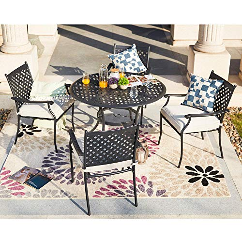 4 Piece Outdoor Patio Metal Wrought Iron Dining Chair Set with Arms and Seat Cushions