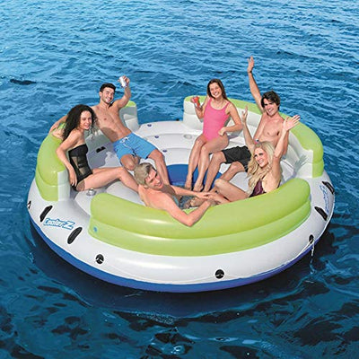 AUNLPB Tropical Breeze Inflatable Floating Island, Extra Large Swim Lounger for Pool or Lake, Multi-Purpose Inflatable Pool Float, Summer Lounge Toy