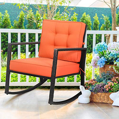 Tangkula Wicker Rocking Chair with Cushion