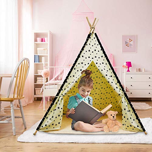 Arkmiido Teepee Tent for Kids Foldable Play Tent for Boys and Girls with Plush Mat Playhouse for Kids Indoor and Outdoor