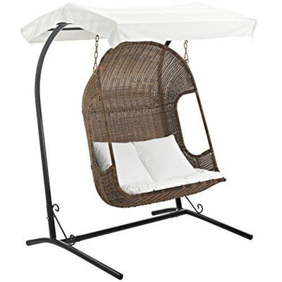 Modway EEI-2278-BRN-WHI-SET Vantage Wicker Rattan Outdoor Patio Balcony Porch Lounge Swing Chair Set and Canopy Brown White
