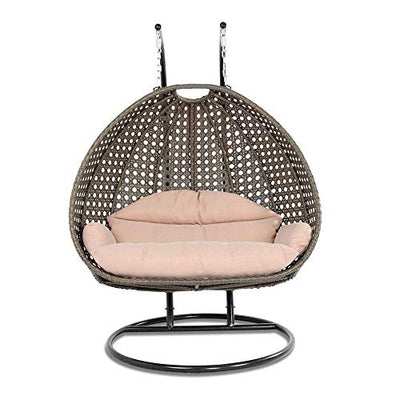 Island Gale Luxury Comfort 2 Person Outdoor, Patio, Hanging Wicker Swing Chair (X Large-Plus, Latte w LT Cushion)