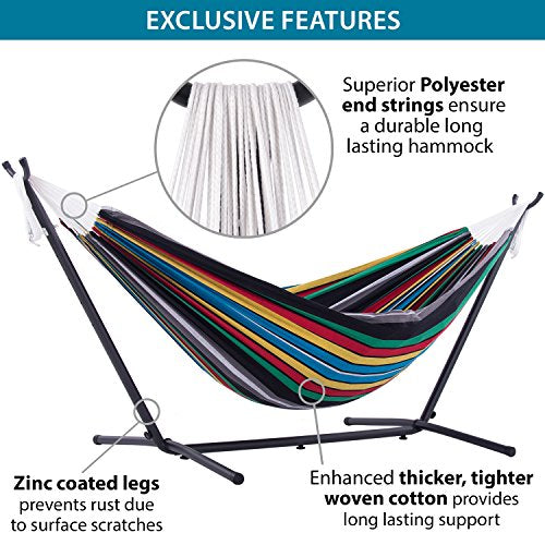 Vivere Double Hammock With Space Saving Steel Stand Rio Night