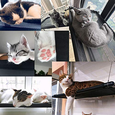 CWAY Upgrade Version Cat Window Perch with Stronger Suction Cups, Safest Cat Bed for Large Cat, Space Saving Cat Hammock Mount onto Window, Premium Cat Window Seat for Resting