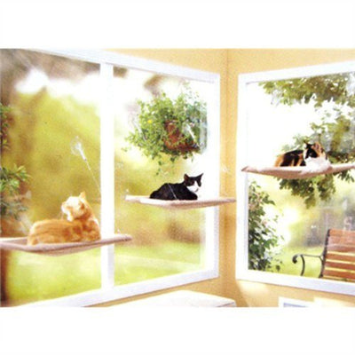 PETPAWJOY Cat Bed, Cat Window Perch Window Seat Suction Cups Space Saving Cat Hammock Pet Resting Seat Safety Cat Shelves - Providing All Around 360° Sunbath for Cats Weighted up to 30lb