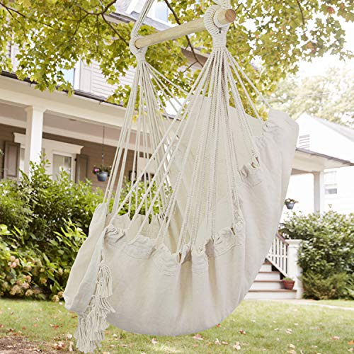 Wbhome Hammock Chair Swing With Hanging Hardware Kit Beige Cotton Ca Hammock Town