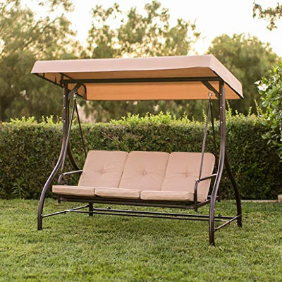 Premium Patio Swing Chair Bed Convertible 3 Seater with Canopy