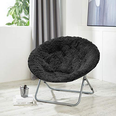 Urban Shop Oversized Mongolian Saucer Chair, Black