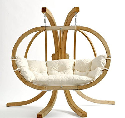 Globo Royal Hanging Chair: Natural White with Soft Cushion