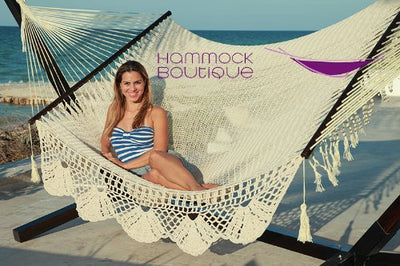 Mayan Cotton Rope Hammock With Crochet Handmade Fringe: Natural
