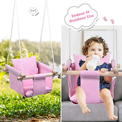 Costzon Kids Classic Swing, Baby Canvas Hanging Swing Seat