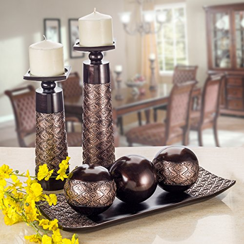 Dublin Home Decor Tray and Orbs Balls Set of 3: Brown