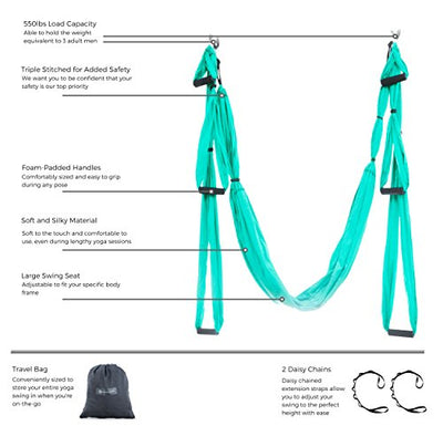 Aerial Yoga Swing - Ultra Strong Antigravity Yoga Hammock/Trapeze/Sling for Air Yoga Inversion Exercises - 2 Extensions Straps Included (Turquoise)