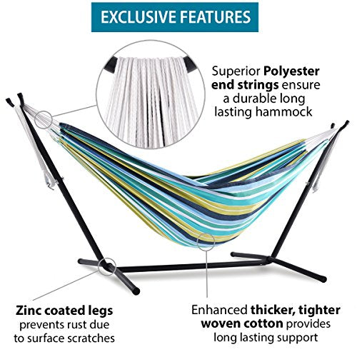 Vivere Double Hammock With Space Saving Steel Stand, Rio Night