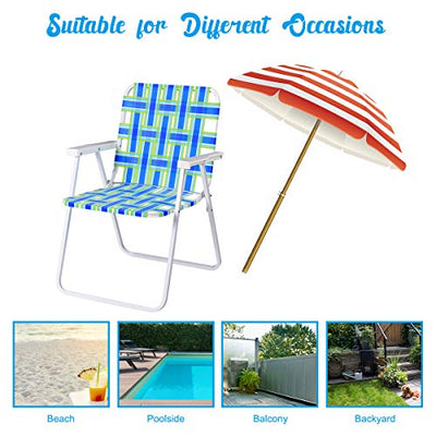 GYMAX Patio Folding Web Chair Set