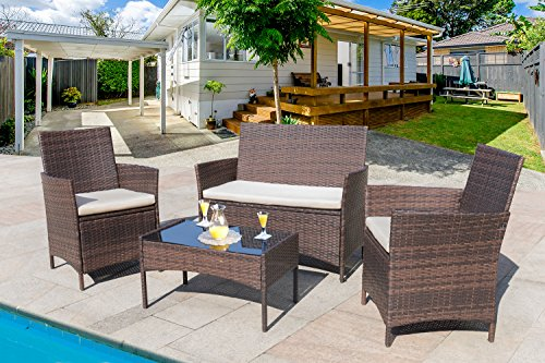 Homall 4 Pieces Outdoor Patio Furniture Sets Clearance Rattan Chair